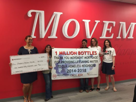 Movement Mortgage donates more than 1 million water bottles for homeless
